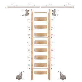Standard Rolling 9-Foot Red Oak Ladder Kit with 8-Foot Rail and Horizontal Brackets, Satin Nickel