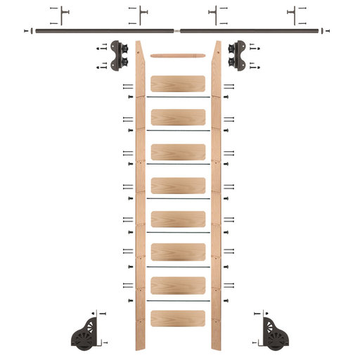 View a Larger Image of Standard Rolling 9-Foot Red Oak Ladder Kit with 8-Foot Rail and Vertical Brackets, Bronze