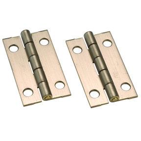 """Miniature Narrow Solid Brass Hinge Ab Finish 1-1/2"""" L x 7/8"""" Open w/screws Pair"""