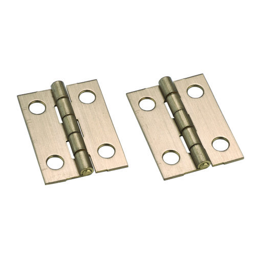 """View a Larger Image of Miniature Narrow Solid Brass Hinge Ab Finish 1"""" L x 3/4"""" Open w/screws Pair"""