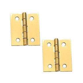"""Miniature Broad Solid Brass Hinge 1-1/2"""" L x 1-1/4"""" Open w/screws Pair"""