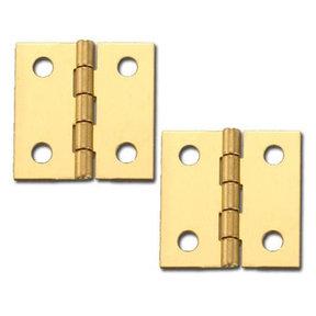 """Miniature Broad Solid Brass Hinge1"""" L x 1"""" Open w/screws Pair"""