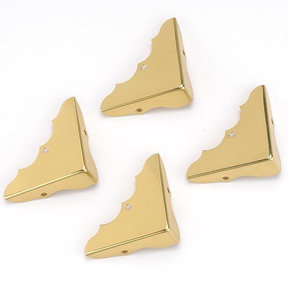 """Solid Brass Miniature Decorative Corners with Screws - 5/8"""" x 1-3/4"""" - 4 Pack"""