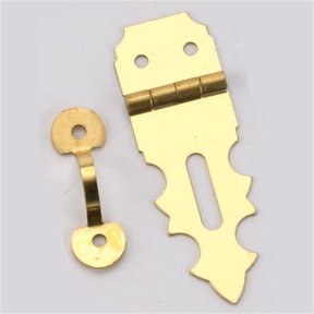 """Solid Brass Miniature Decorative Hasp 5/8"""" L x 1-7/8"""" Open with Fasteners"""