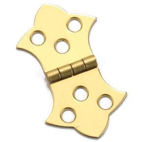 "Miniature Decorative Solid Brass Hinge 1-5/16"" L x 2-1/4"" Open w/screws Pair"