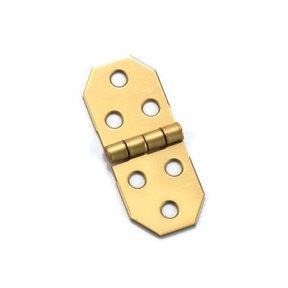 "Miniature Decorative Solid Brass Hinge 3/4"" L x 1-13/16"" Open w/screws Pair"