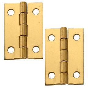 "Miniature Medium Solid Brass Hinge 1-1/2"" L x 1"" Open w/screws Pair"