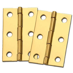 "Miniature Medium Solid Brass Hinge 2-1/2"" L x 1-9/16"" Open w/screws Pair"