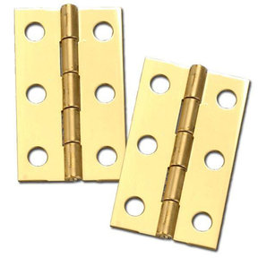 "Miniature Medium Solid Brass Hinge 2"" L x 1-3/16"" Open w/screws Pair"