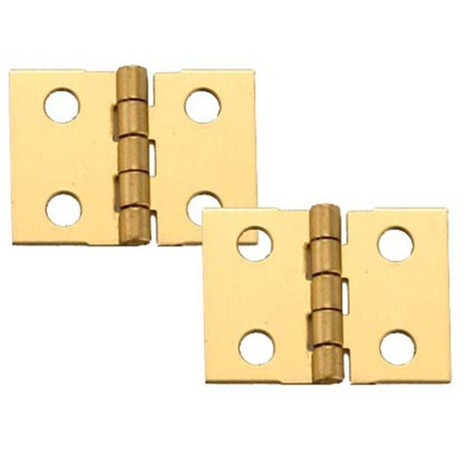"""View a Larger Image of Miniature Narrow Solid Brass Hinge 1"""" L x 3/4"""" Open w/screws 2 Pair"""