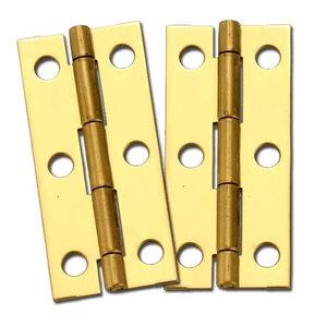 """Miniature Narrow Solid Brass Hinge 2-1/2"""" L x 1-1/8"""" Open w/screws Pair"""