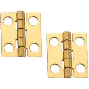 """Miniature Narrow Solid Brass Hinge 3/4"""" L x 5/8"""" Open w/screws 2 Pair"""
