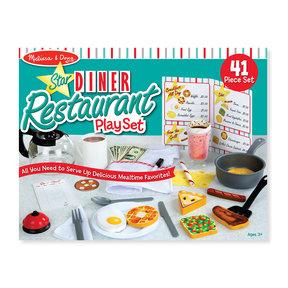 Star Diner Restaurant Play Set, Wooden Diner Play Set, Toy Diner Set, 41 Pieces,