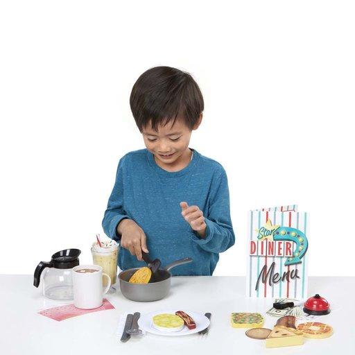 View a Larger Image of Star Diner Restaurant Play Set, Wooden Diner Play Set, Toy Diner Set, 41 Pieces,