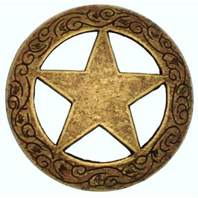 Star Knob with Engraved Edge, Brass Oxide