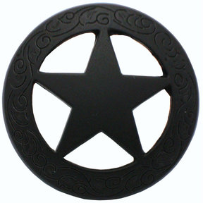 Star Knob with Engraved Edge, Matte Black
