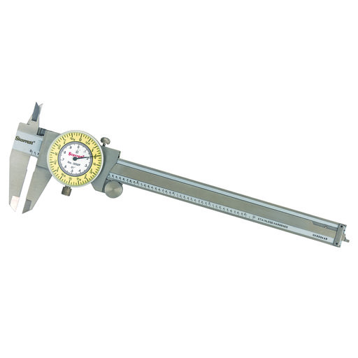 """View a Larger Image of Stainless Steel White/Yellow Dial Caliper 0-6"""" Fractional Range"""