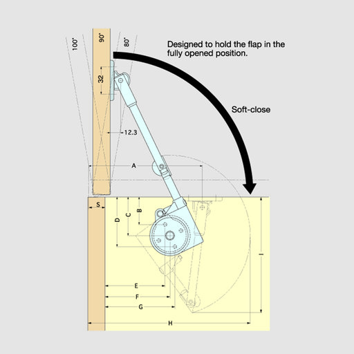 View a Larger Image of Adjustable Soft Down Lid Stay Model SDS-C301N Black