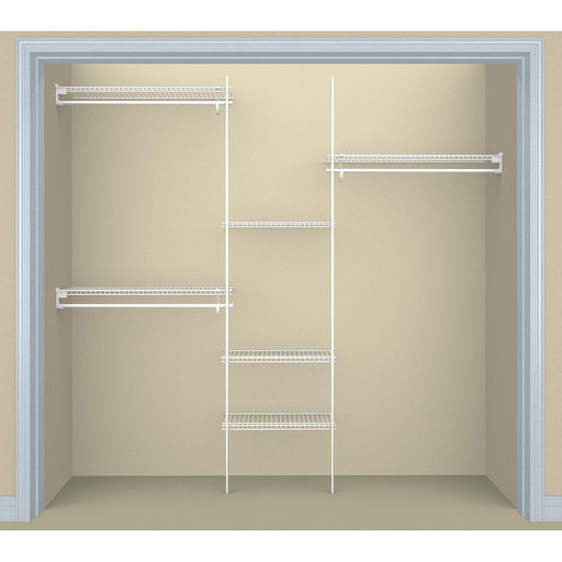 View a Larger Image of SuperSlide Closet Organizer Kit 5'- 8' W Fixed Mount, White