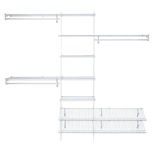 View a Larger Image of SuperSlide Closet Organizer Kit with Shoe Shelf 5' - 8' W Fixed Mount, White