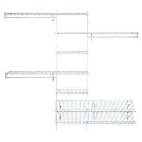 SuperSlide Closet Organizer Kit with Shoe Shelf 5' - 8' W Fixed Mount, White