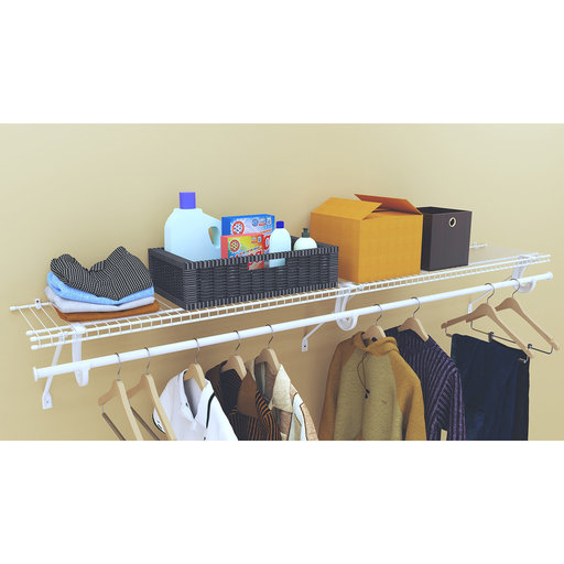 """View a Larger Image of SuperSlide Ventilated Shelf Kit with Hang Rod 72"""" W x 12"""" D, White"""