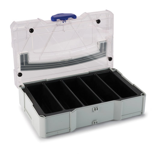 View a Larger Image of Systainer MINI T-LOC I, Light Gray with clear lid, and 5 division Insert