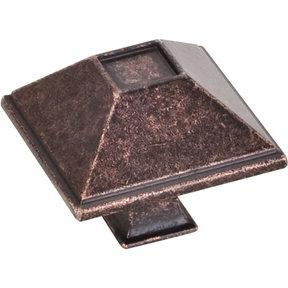 "Tahoe Knob, 1-1/2"" O.L., Distressed Oil Rubbed Bronze"