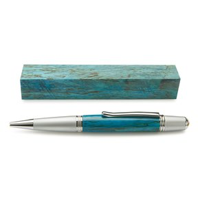 """Stabilized & Dyed Spalted Tamarind Pen Blank - 3/4"""" x 3/4"""" x 5"""" - Turquoise"""