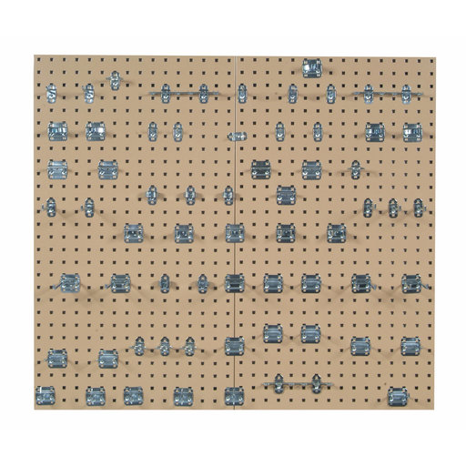 View a Larger Image of Tan Epoxy 18 Gauge Steel Square Hole Pegboards w/63 pc. LocHook Assortment