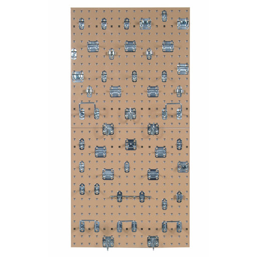 View a Larger Image of Tan Epoxy, 18 Gauge Steel Square Hole Pegboards with 46 pc LocHook Assortment