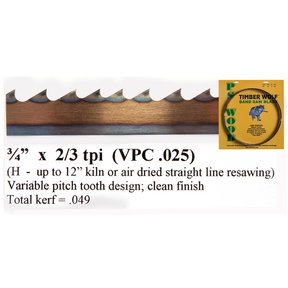 """Bandsaw Blade - 111"""" x 3/4"""" x 2/3 TPI - Variable Positive Claw"""