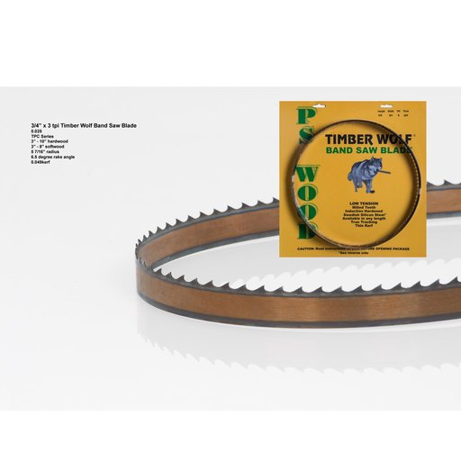 """View a Larger Image of Bandsaw Blade 142"""" x 3/4"""" x 3 TPI Thin Positive Claw"""