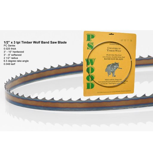 """View a Larger Image of Bandsaw Blade 93-1/2"""" x 1/2"""" x 3 TPI Positive Claw"""