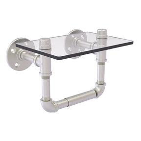 Toilet Tissue Holder with Glass Shelf, Satin Nickel Finish