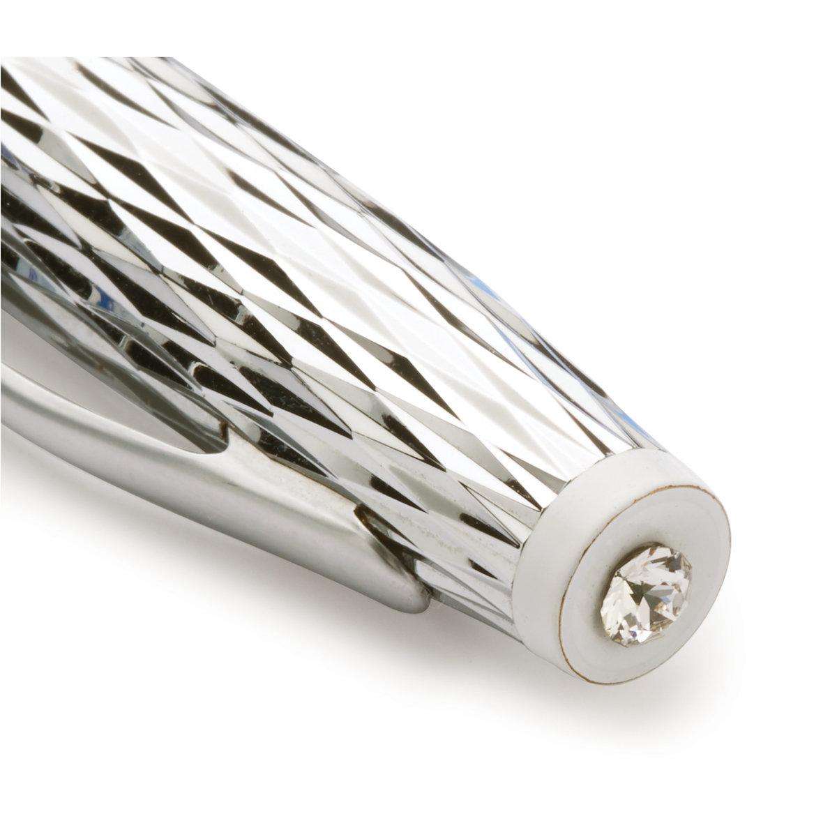 View a Larger Image of Too Chic Twist Pen Kit - Chrome & Satin Chrome w/White Centerband