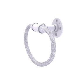 Towel Ring with Stainless Steel Braided Ring, Matt White Finish