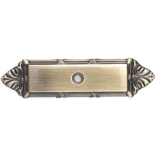 """View a Larger Image of Traditional Backplate for Knob, 4-3/16"""" x 1-3/32"""", Antique English"""