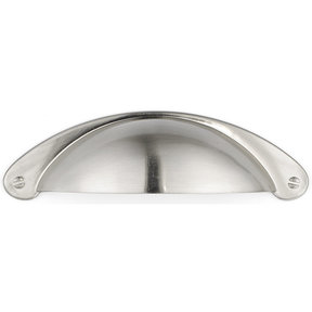 """Traditional Cup Pull, 3"""" Center-to-Center, Brushed Nickel"""