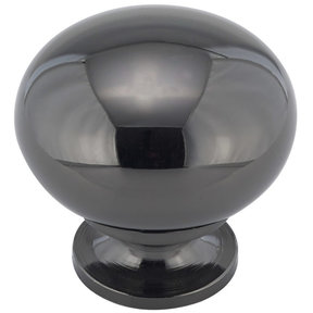 "Traditional Knob, 1-1/4"" D, Black Nickel"