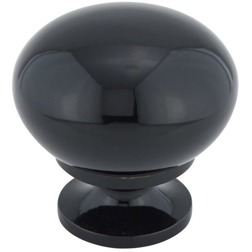 """View a Larger Image of Traditional Knob, 1-1/4"""" D, Black"""