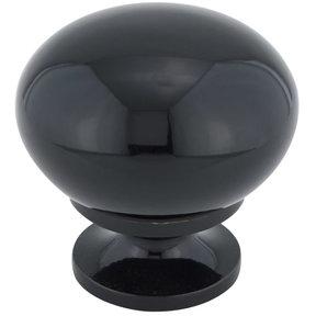 "Traditional Knob, 1-1/4"" D, Black"