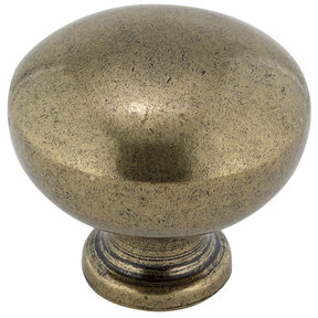 """Traditional Knob, 1-1/4"""" D, Burnished Brass"""
