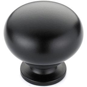 "Traditional Knob, 1-1/4"" D, Matte Black"