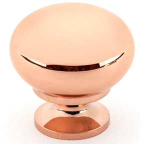 """Traditional Knob, 1-1/4"""" D, Polished Copper"""