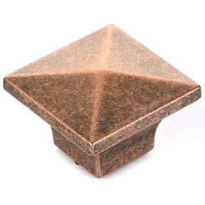 "Traditional Knob, 1-1/4"" x 1-1/4"", Antique Copper"