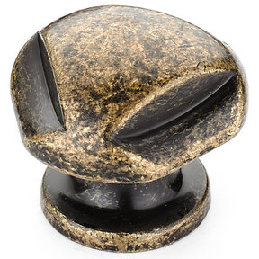 """Traditional Knob, 1-1/8"""" D, Burnished Brass"""