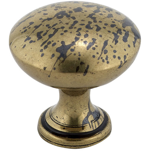 """View a Larger Image of Traditional Knob, 1-3/16"""" D, Oxidized Brass"""