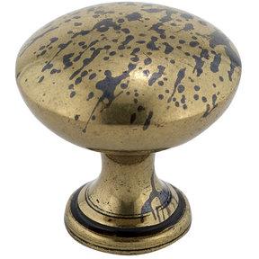 """Traditional Knob, 1-3/16"""" D, Oxidized Brass"""