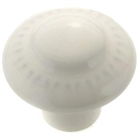 "Traditional Knob, 1-3/8"" D, White"